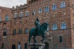 Beautiful and historical sculpture in Florence in Italy stock image