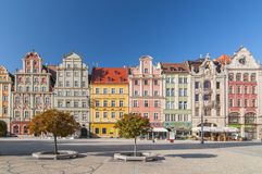 Beautiful historical tenement houses at Old Market Square in the Old Town in Wroclaw, Poland. royalty free stock photos