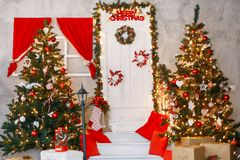 Beautiful holdiay decorated room with Christmas tree stock photography