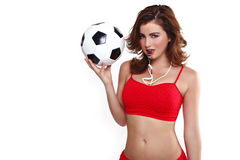 Beautiful Holding a Soccer Ball on White Backgound. Sexy Woman Holding a Soccer Ball on White Backgound Royalty Free Stock Image