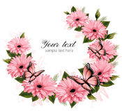 Beautiful holiday card with pink flowers. Royalty Free Stock Photo