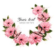 Beautiful holiday card with pink flowers. Stock Photos