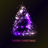 Beautiful holiday card with techno style christmas tree.   made from triangles, flashes and lights. An excellent illustration for Royalty Free Stock Photos