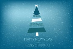 Beautiful holiday card vector with fir tree art stripes on a blu Royalty Free Stock Image