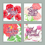 Beautiful holiday cards with flowers Stock Photo
