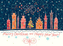 Beautiful holiday in cartoon town. Stock Images