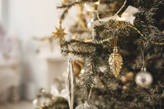 Beautiful holiday decorated room with Christmas tree Royalty Free Stock Photography