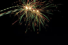Beautiful holiday fireworks on the black sky Stock Photo