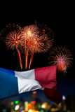 Beautiful holiday fireworks and france flag with & x28;bokek backgrou Royalty Free Stock Photos
