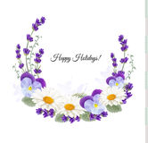 Beautiful holiday greeting card with flower decoration. Stock Image