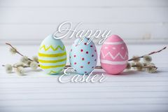 Holiday greeting card with text happy Easter. Beautiful holiday greeting card with text happy Easter royalty free stock photos