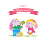 Beautiful holiday hares, one gives bouquet of flowers to another. Happy easter greeting card. Beautiful holiday hares, one gives a bouquet of flowers to another Stock Photography