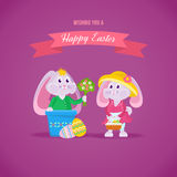 Beautiful holiday hares, one gives bouquet of flowers to another. Happy easter greeting card. Beautiful holiday hares, one gives a bouquet of flowers to another Stock Images