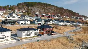 Beautiful holiday houses in Norway stock footage