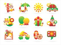 Beautiful holiday icons Royalty Free Stock Photography