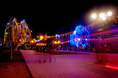 Beautiful holiday illumination. New Year decorated trees in a park. Beautiful holiday illumination Royalty Free Stock Photo