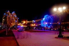 Beautiful holiday illumination. New Year decoration in a park. Beautiful holiday illumination Royalty Free Stock Photo
