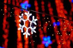 Beautiful holiday illumination. New Year decoration in a park. Beautiful holiday illumination close up Royalty Free Stock Images