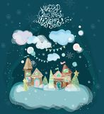 Beautiful holiday illustration with gingerbread houses. Christmas background Stock Photo