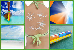 Beautiful holiday pictures. Collage  with beautiful holiday pictures of tropical beach Stock Images