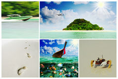 Beautiful holiday pictures. Collage  with beautiful holiday pictures of tropical beach Royalty Free Stock Photos