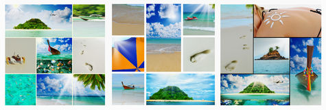 Beautiful holiday pictures. Collage  with beautiful holiday pictures of tropical beach Royalty Free Stock Photography
