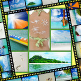 Beautiful holiday pictures. Collage  with beautiful holiday pictures of tropical beach Stock Photo