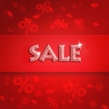 Beautiful holiday sale on red background. Illustration with blurred snowflake and procent sign Stock Photos