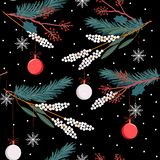 Beautiful Holiday seamless vector pattern with leaves ,flowers,gift ,ball and snow flake on black colors for Christmas