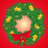 Beautiful holiday wreath for Christmas in red backgraund royalty free stock image