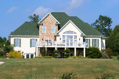 Beautiful Home. Lakefront home with large deck and beautiful view Stock Photos