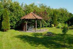 Beautiful home garden gazebo pavilion Royalty Free Stock Images