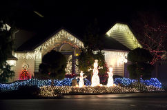 Beautiful home house christmas lights lighting Royalty Free Stock Photography
