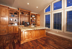 Beautiful home office with wood floors