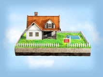 Beautiful home for sale realestate sign. Little cottage on a piece of earth in cross section. 3D illustration. Stock Images