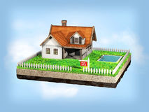 Beautiful home for sale realestate sign. Little cottage on a piece of earth in cross section. 3D illustration. Stock Image