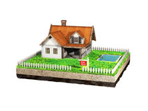 Beautiful home for sale realestate sign. Little cottage on a piece of earth in cross section. 3D illustration. Royalty Free Stock Photo