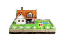 Beautiful home for sale realestate sign. Little cottage on a piece of earth in cross section. 3D illustration. Small clapboard siding house with red roof Stock Images