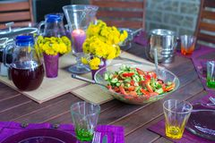 Beautiful home served table for dinner on the veranda Royalty Free Stock Photo