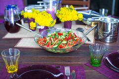 Beautiful home served table for dinner on the veranda Stock Photography