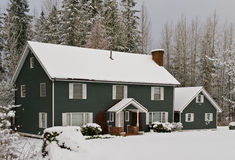 Beautiful home in winter Stock Photography