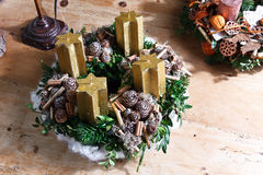 Beautiful homemade advent wreath Stock Photo