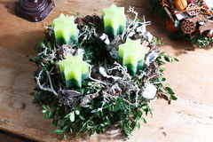 Beautiful homemade advent wreath Stock Image