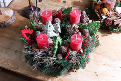 Beautiful homemade advent wreath Stock Photos