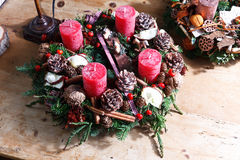 Beautiful homemade advent wreath Royalty Free Stock Photography