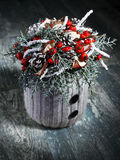 Beautiful homemade Christmas table decoration Stock Photos