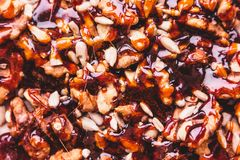 Homemade nuts in caramel macro royalty free stock photos