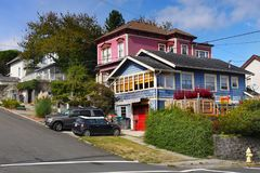 Astoria Homes,  Oregon United States. Beautiful homes in Astoria downtown, street view. Oregon, United States Royalty Free Stock Photos