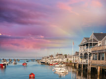 Beautiful homes of Nantucket, Massachusetts. Houses over water a Stock Photo