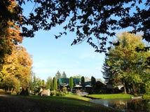 Beautiful homes near lake, Lithuania stock photo